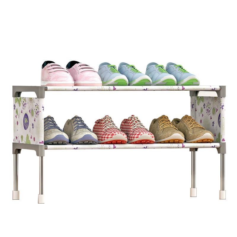 2 Tiers Shoe Cabinet Non-Woven Fabric Shoes Rack Shoes Organizer Rack Saving Space Shoes Cabinet Storage Stand Shelf Holder