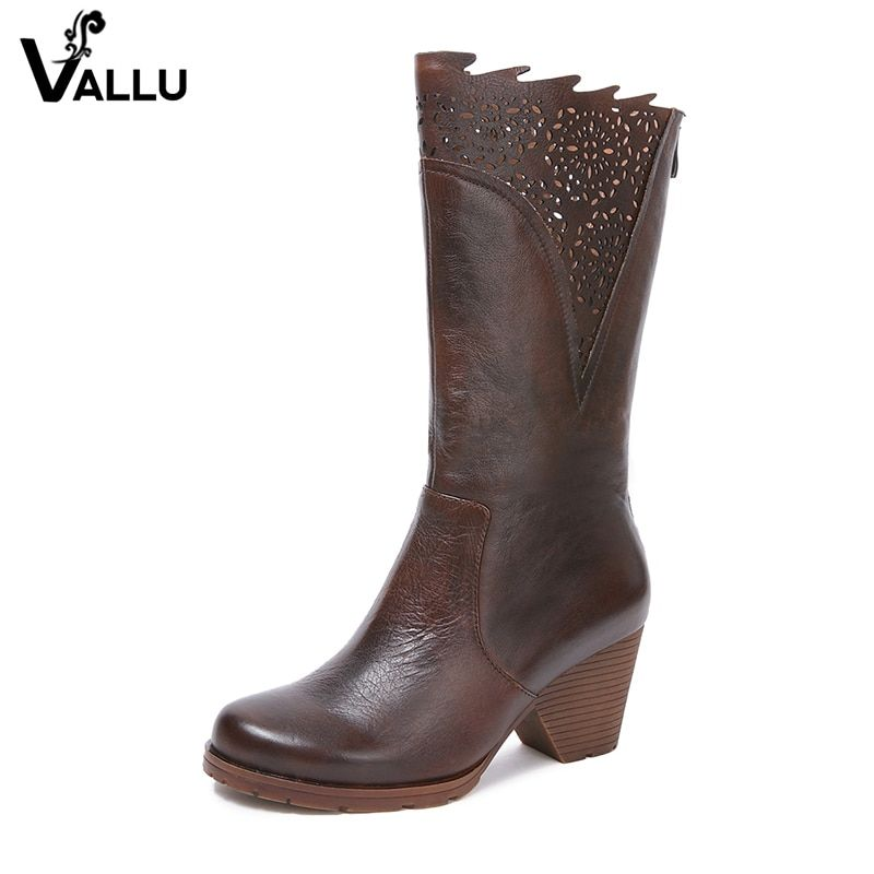 2018 New Arrival Handmade Vintage Women Boots Mid-Calf Round Toes Genuine Leather High Heel Boots