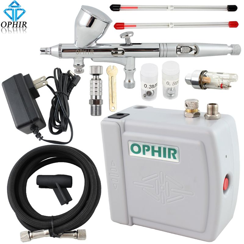 OPHIR Airbrush Cosmetic Makeup System 0.2mm 0.3mm 0.5mm Mini Air Compressor Airbrush kit for Nail Art Body Paint Cake Decorating