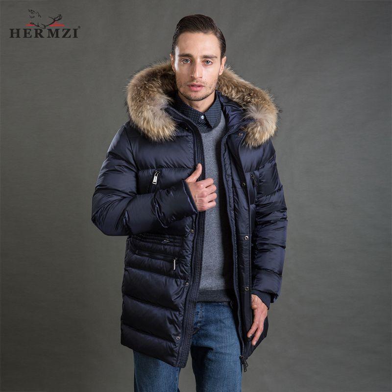 HERMZI 2017 Men Winter Jacket Fashion Coat Parka Thicken Detachable Hood Raccoon Fur Collar European Size Blue 4XL Free Shipping