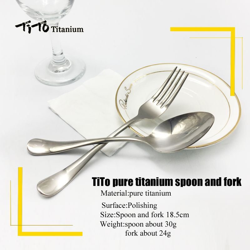 TiTo titanium polished Spoon Tableware titanium Fork Ultralight pure titanium Spork Cutlery Camping Cooking Titanium spoon