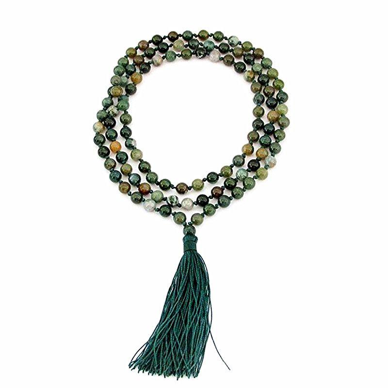 Noué à la main Traité Thermiquement pierre Naturelle 6mm 108 Perles de Prière Bouddhiste Japa Mala pour Medita Long Collier femmes bijoux