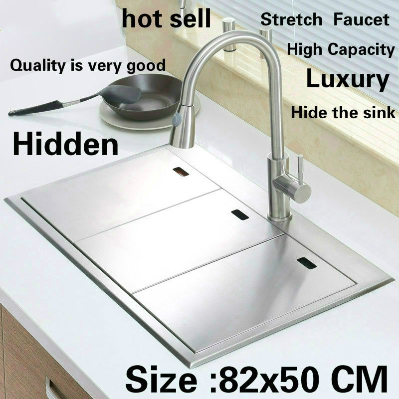 Free shipping Standard luxurious kitchen manual sink double groove hidden durable food-grade stainless steel hot sell 820x500 MM