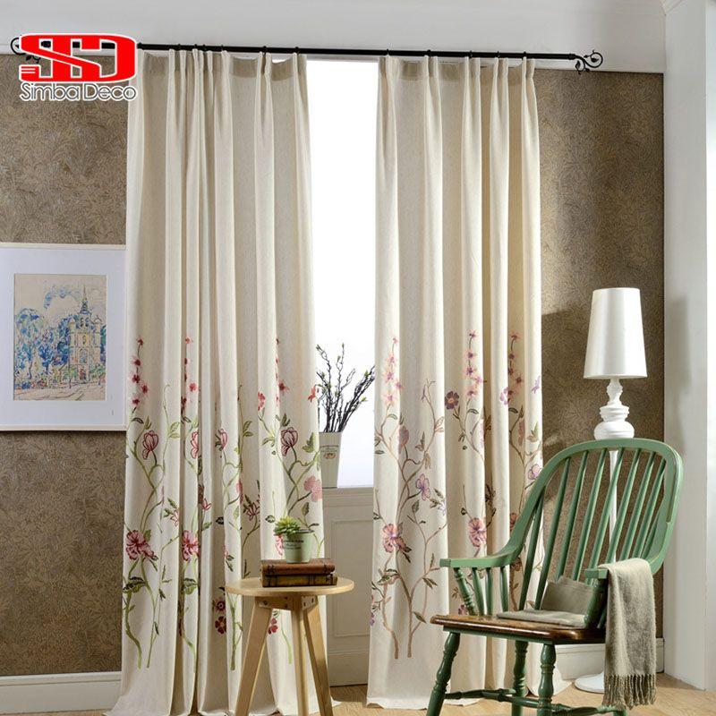 Lin coton tissu luxe rideaux occultants pour chambre stores rideaux pastorale chinois Floral fenêtre Cortinas pour salon