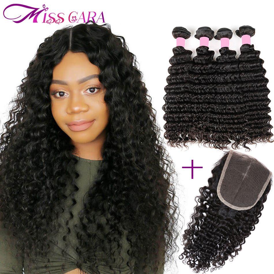 Malaysian Deep Wave Bundles With Closure 100% Human Hair 3/4 Bundles With Closure Miss Cara Remy Hair Bundles With Closure Weave