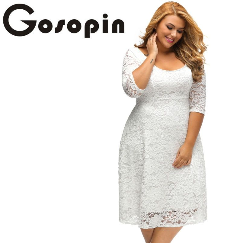 Gosopin New Elegant Large Size Lace Dresses 2017 White Floral Lace Sleeved Fit and Flare Curvy Dress Vestidos <font><b>Mujer</b></font> LC61395
