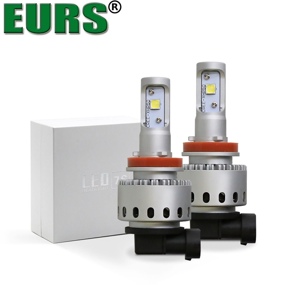 EURS(TM) 7S LED lights Motoecycle Car LED headlights Wireless DRL H1 H4 H7 H8/H11 9005 9012 car lamps high quality car styling