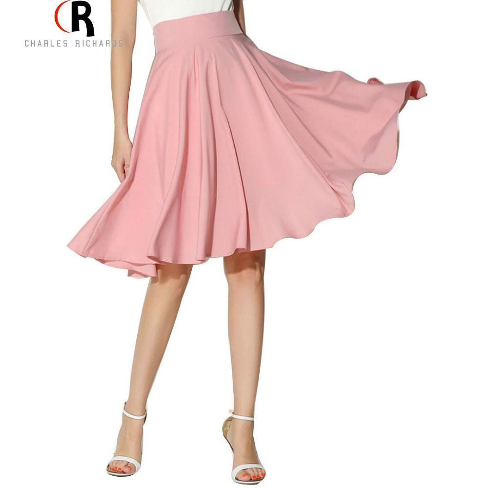 Midi Skirt 2017 Summer Women Clothing High Waist Pleated A Line <font><b>Skater</b></font> Vintage Casual Knee Length Saia Petticoat
