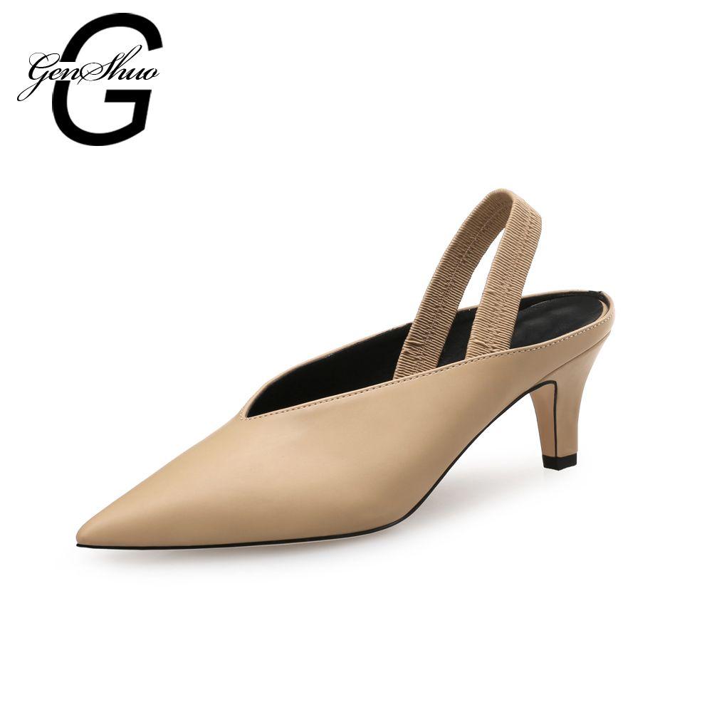 GENSHUO Nouveau Bout Pointu 5 cm Bout Pointu Slip Sur Faible Talon Chaussures Pompes Élégantes Chaussures D'été pour les Femmes