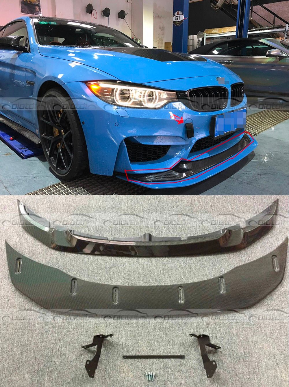 F80 F82 GTS Style Car Styling Real Carbon Fiber Front Lip & Spoiler Bumper Fit For BMW F80 M3 F82 M4 2013+ 2PCS