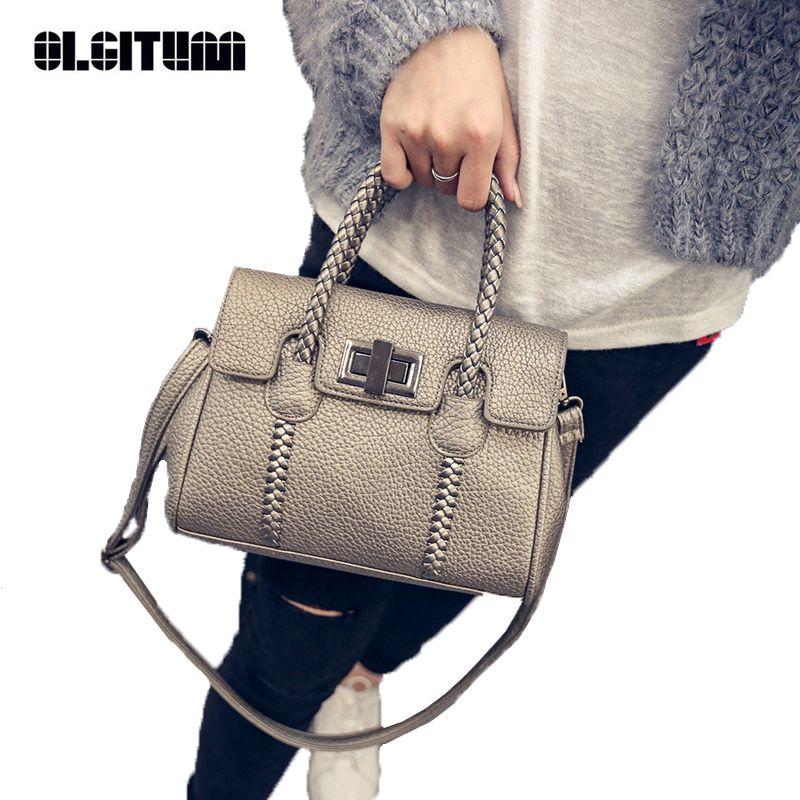 OLGITUM 2018 new arrival Fashion grain women handbag Korean woven platinum Female bag shoulder inclined across packets HB095