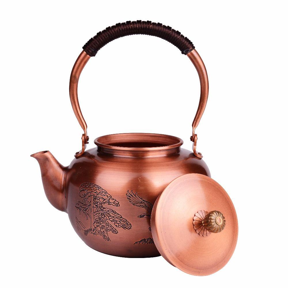 1.2L handmade Chinese Tea Pot Copper Drink Water Kettle for Green Puer Tea Oolong Tea high quality Durable Better Than Glass Pot