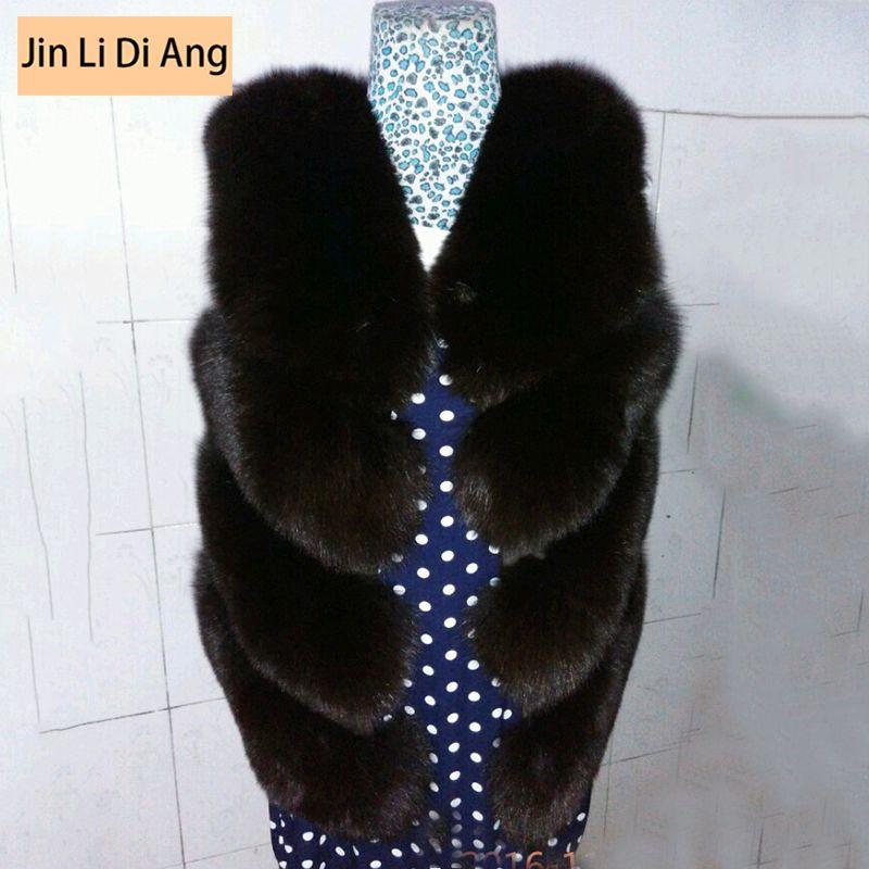 Jin Li Di Ang Women Multi color Vintage Slim Real Natural Fox Fur Vest lady Short Genuine Fluffy Fox Fur Coat Large Plus Size