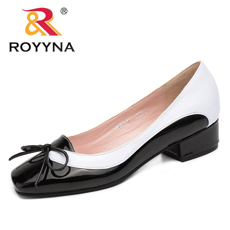 ROYYNA New Arrival Fashion Style Women Pumps Butterfly-Knot Women Dress Shoes Square Toe Women Office Shoes Shallow Lady Shoes