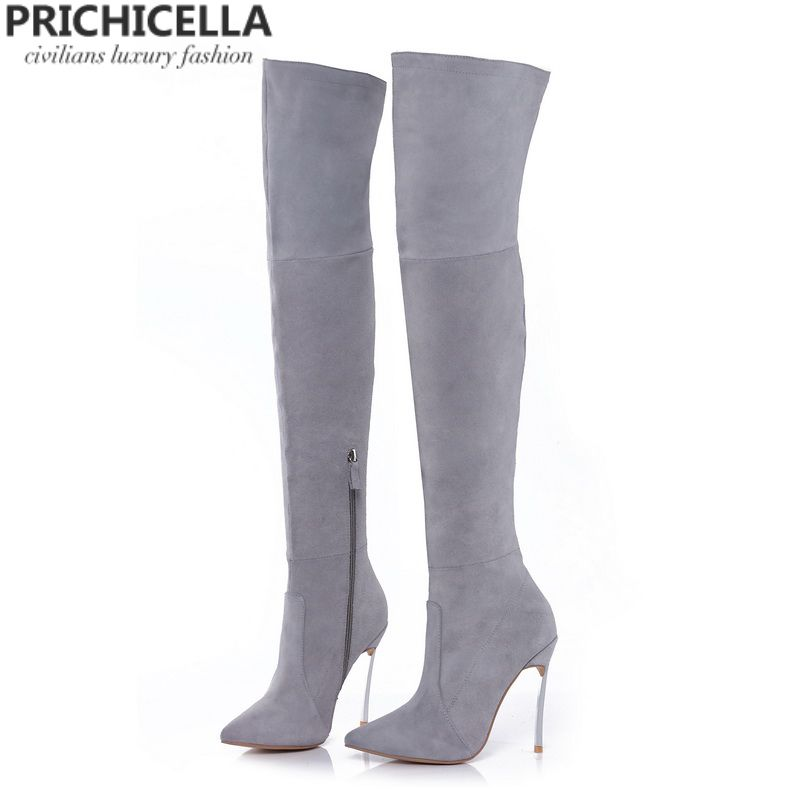 PRICHICELLA 8cm 10cm grey genuine leather over the knee boots <font><b>thigh</b></font> high booties size34-42
