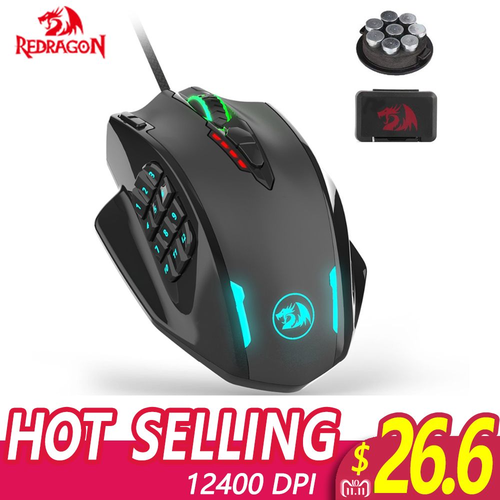 Redragon M908 IMPACT RGB LED MMO Mouse Laser Wired Gaming Mouse with 12,400DPI High Precision 18 Programmable Mouse Buttons