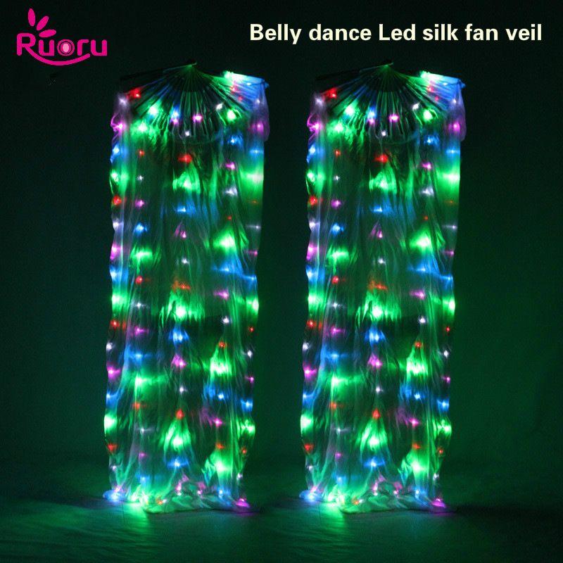 Ruoru 2 pieces = 1 pair LED Belly Dance Silk Fan Veil 100% Silk Fan Veils Stage Performance Props Rainbow White Led Fan Veil
