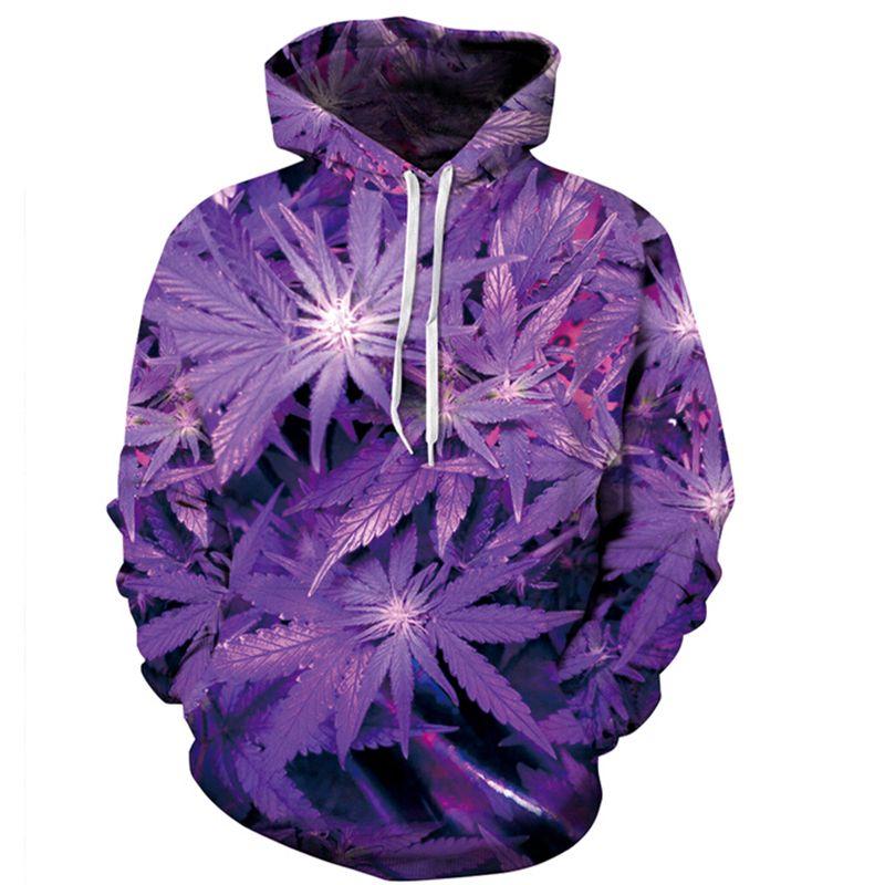 PLstar Cosmos Nouvelle 3D À Capuche 3D Violet Weed Feuille Imprimer Sweat Mode À Capuche Survêtements Tops Taille S-XXXL LIVRAISON gratuite