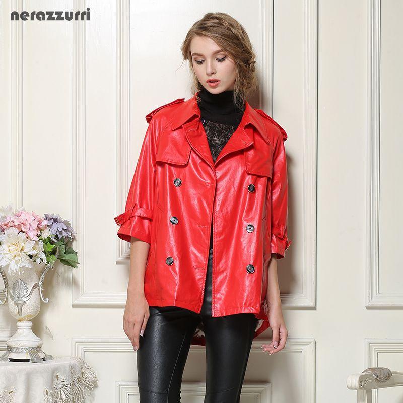 Nerazzurri Faux leather jackets women plus size 4xl 5xl 6xl 7xl red black gray blue female pu jacket Double Breasted long Coat