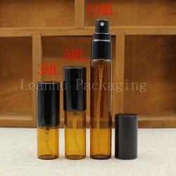 3/5/10 ml Brown Kaca Botol Spray, Minyak Esensial/Toner/Parfum Kemasan Botol, kosong Kosmetik Kontainer (Gratis Pengiriman)