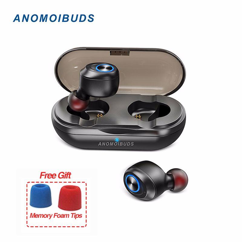 Anomoibuds Capsule TWS écouteurs sans fil V5.0 écouteurs bluetooth Casque Deep Bass Son Stéréo Sport écouteurs pour samsung Iphone