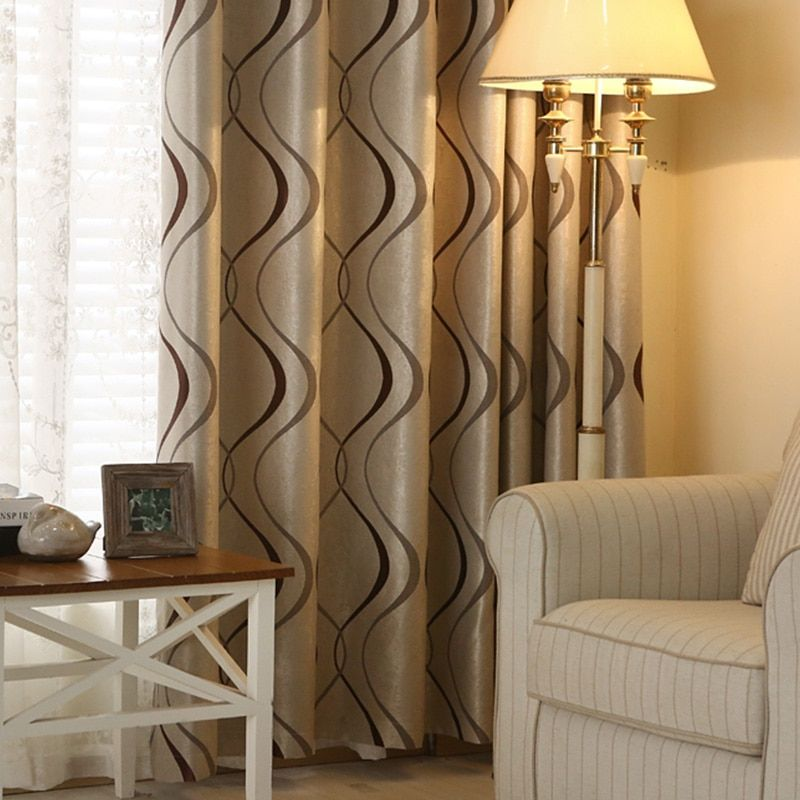 Thick Luxury Wavy Striped Curtain Design for Living Room Bedroom Home <font><b>Decoration</b></font> Modern Blackout Curtains Ready Made Chinese