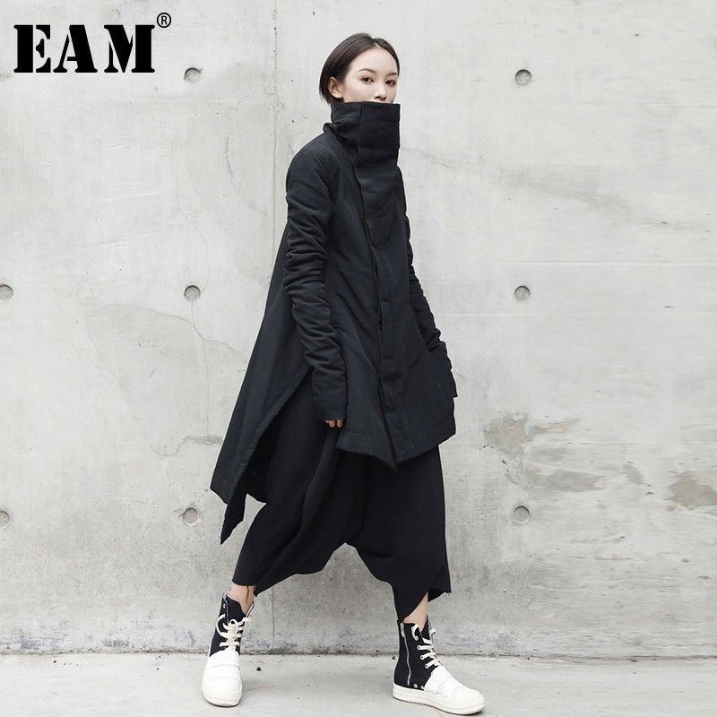 [EAM] 2019 New Fashion Winter Stand Lead Irregular Long Type Cotton-padded Clothes Loose Coat Solid Black Jacket Woman YA77101