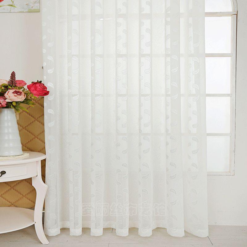 Jacquard Rideau de Fenêtre Pure Style Pastoral décoration Intérieure maison Tulle Rideaux pour Salon Panneaux Simples (B607)
