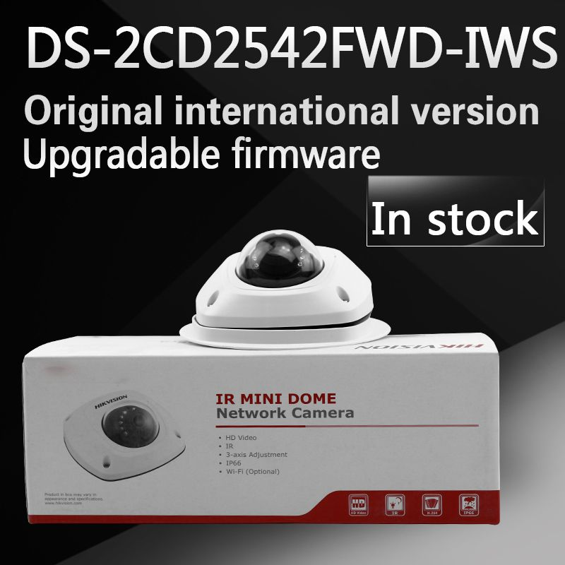 in stock free shipping english version DS-2CD2542FWD-IWS Audio 4MP WDR Mini Dome Network Camera with WIFI