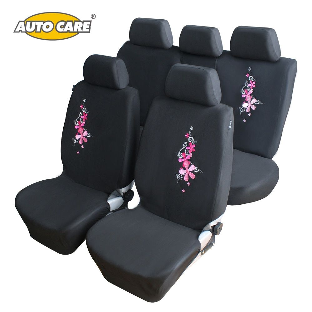 Flower Embroidery Car Seat Covers Universal Fit 9PCS Full Set Car Seat  Protector for Front & Rear Seat Interior Auto Decoration