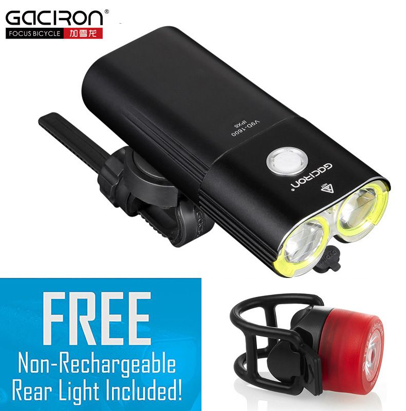 Gaciron Bike Front Light Waterproof 1600 Lumens Rechargeable 5000mAh Power Bank bicycle accessories with free W05 tail light