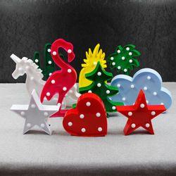 LED mesa noche luz carpa estrella corazón Flamingo piña Navidad árbol de coco decoración del partido 3D lámpara de escritorio