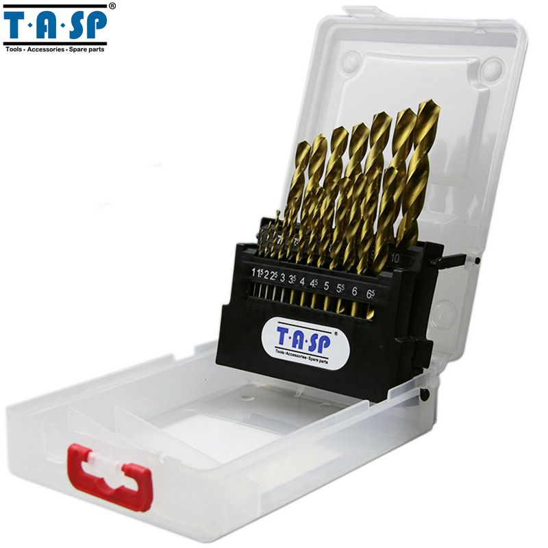 TASP HSS Drill Bit Set for Metal Drilling 19PC 1.0 ~ 10mm Round Shank