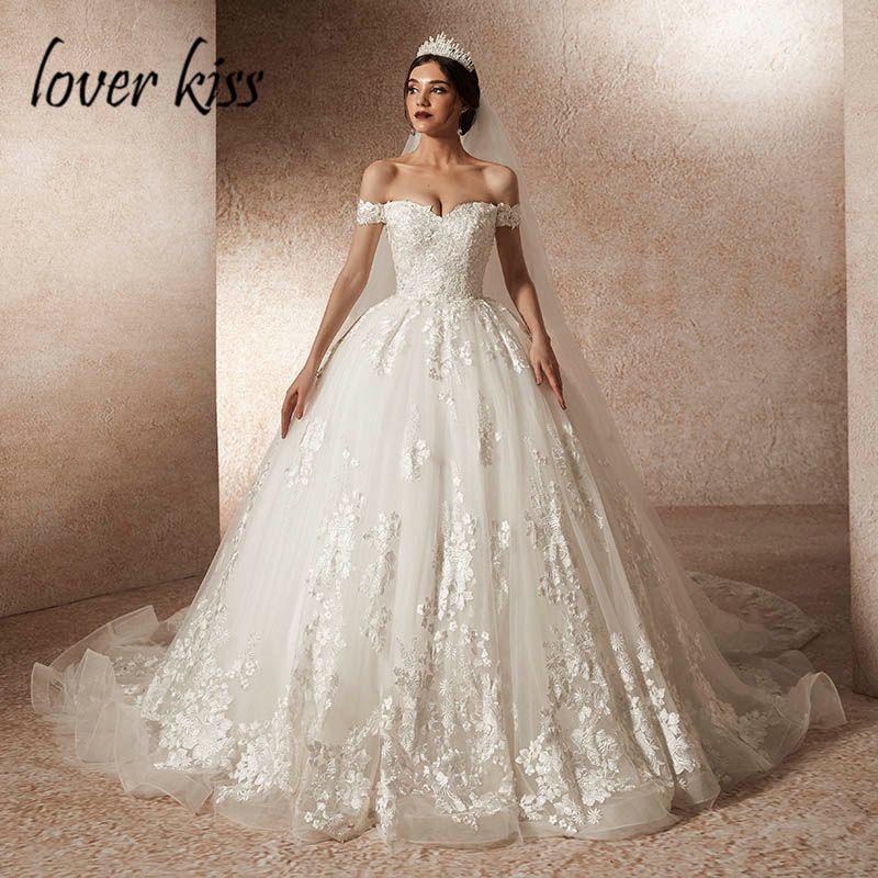 Liebhaber Kuss Vestido De Noiva 2019 Luxus Prinzessin Spitze Weg Von Der Schulter Hochzeit Kleid Tüll Braut Hochzeit Kleider robe de mariage