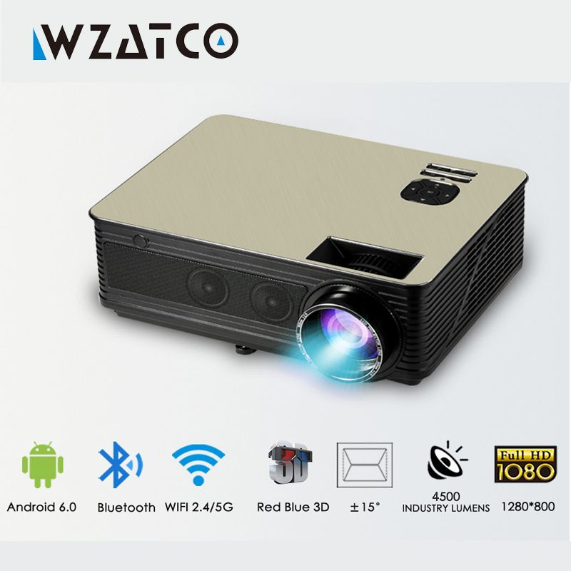 WZATCO Support 1080p 5500lumens HD Projector Android 7.1 WiFi Bluetooth Home Theater LED Video Game Projector Beamer Proyector