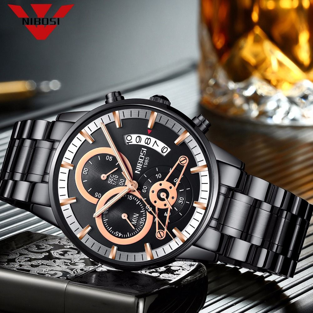 NIBOSI Men Watches Luxury Top Brand Men gold Watch Relogio Masculino Military Army Analog Quartz Wristwatch black white blue