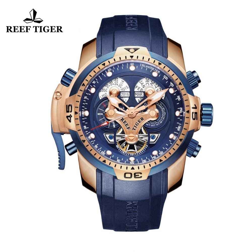 Riff Tiger/RT Sport Herren Uhr mit Komplizierten Große Zifferblatt Perpetual Kalender Stahl Mechanische Uhr Blau Rubber Strap RGA3503