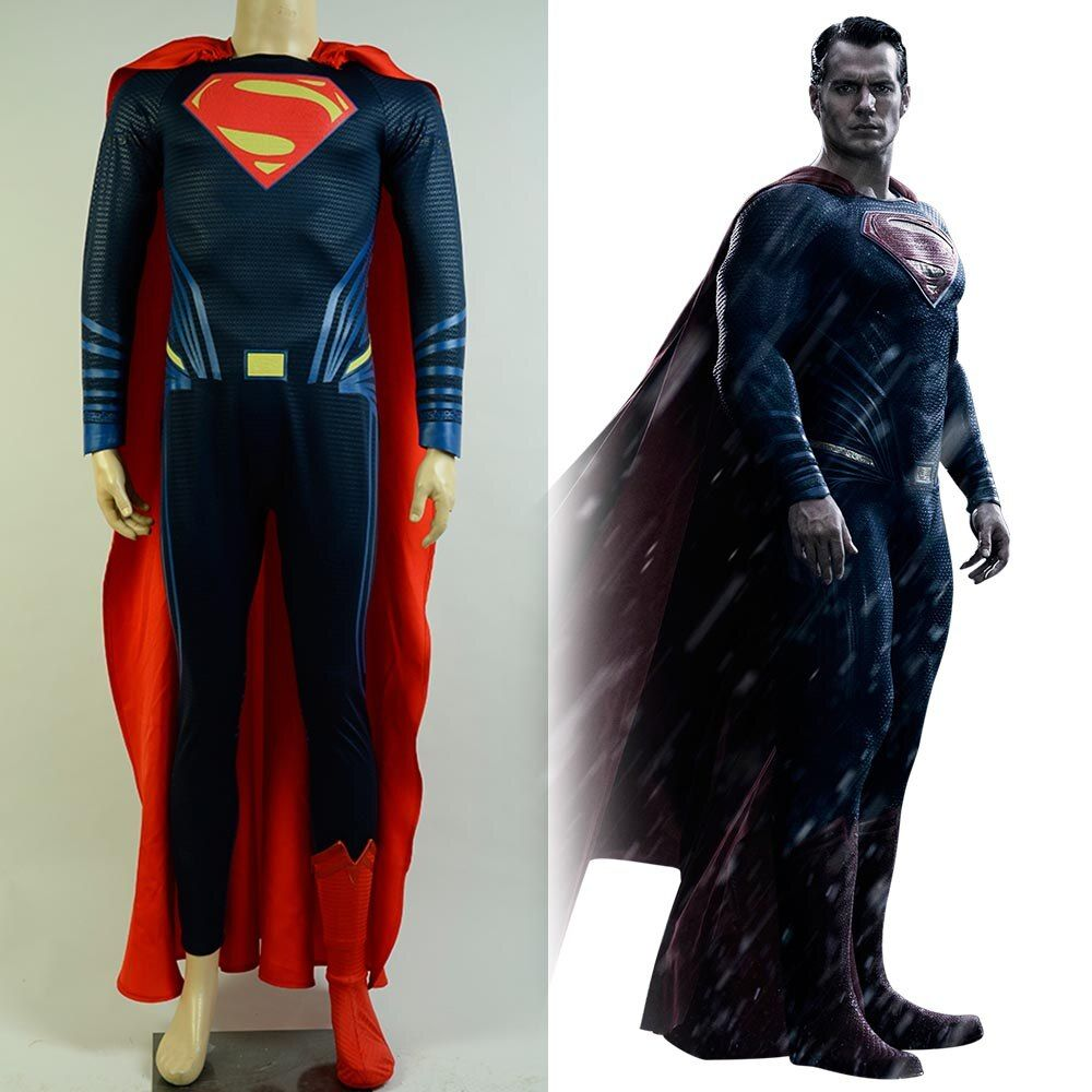 Batman v Superman:Dawn of Justice Clark Superman Zentai Jumpsuit Boot Cover Halloween Cosplay Costume For Adult Men Full set