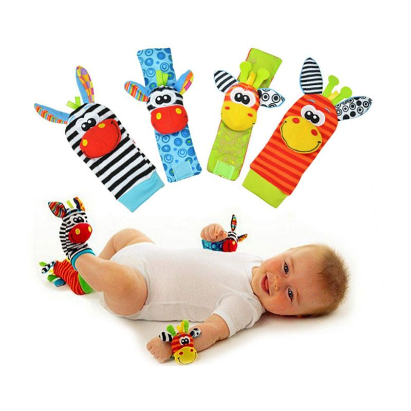 4 pcs/lot (4 pcs=2 pcs waist+2 pcs socks), Baby Rattle Toys Sozzy Wrist Rattle and Foot Socks Protect Baby and For Fun 11-169