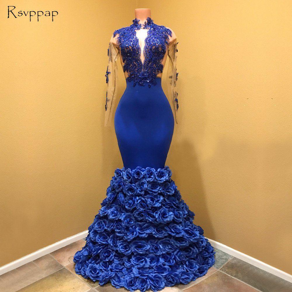 Wunderschöne Meerjungfrau High Neck Sheer Long Sleeve Handgemachte Blumen Royal Blue Afrikanische Lange Prom Kleider 2019