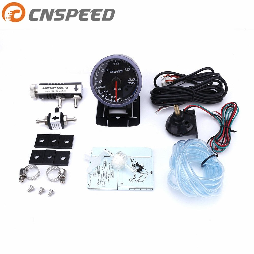 Free shipping CNSPEED 60MM Car Turbo Boost gauge 2BAR + Adjustable Turbo Boost Controller Kit 1-30 PSI IN-CABIN Car Meter