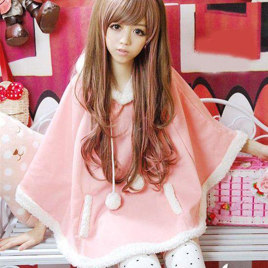 Autumn Japanese Batwing Sleeve Pullovers Hoodies Soft Fleece Girls Ball Doll Cloak Sweet Winter Warm Cape Cute Women Pullover