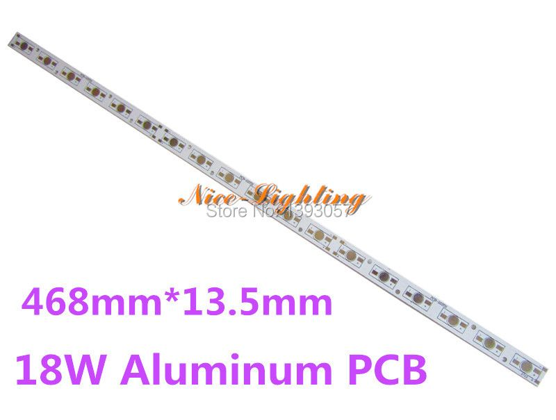 LED Light Plate Rectangle PCB Board, 468mm*13.5mm*1.6mm LED Aluminum Base plate can soldering 18pcs LEDs