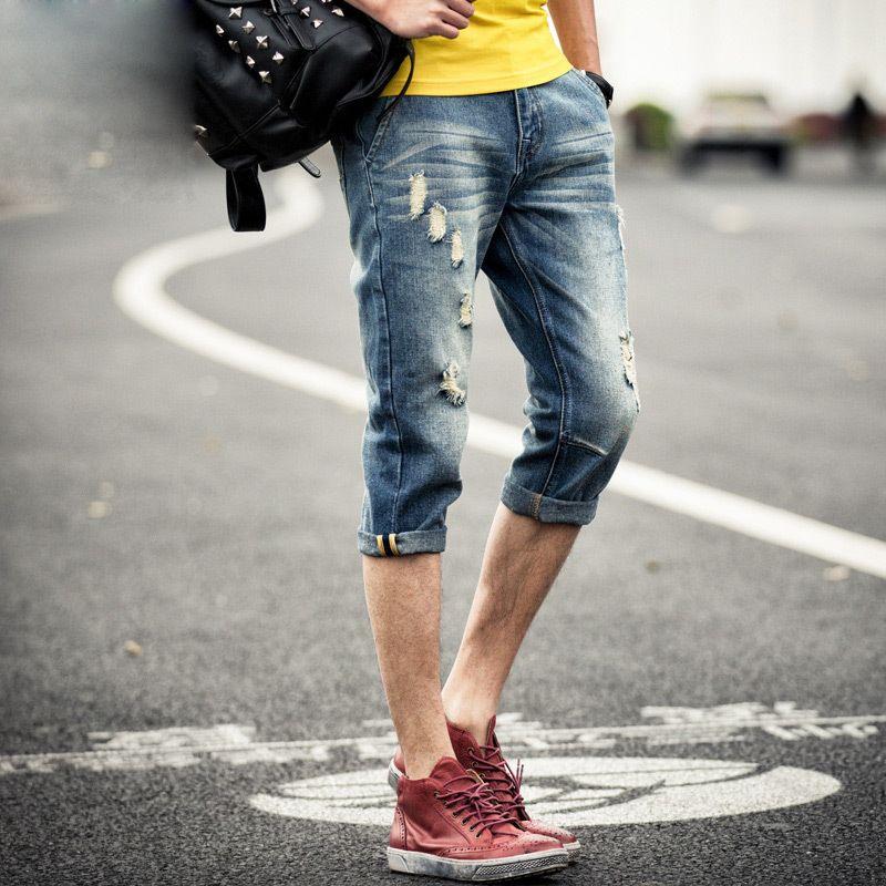 Fashion 2018 Summer Men's denim teenagers ripped jeans feet pants Vintage Hip Hop Cowboy Slim Fit flanging Denim Capri Pants