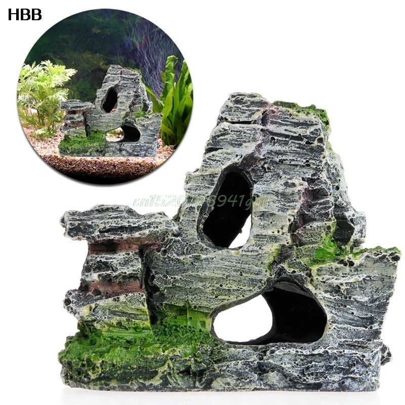 Mountain View Steingarten Aquarium Rock Cave Baum Brücke Aquarium Ornament Dekor # T025 #
