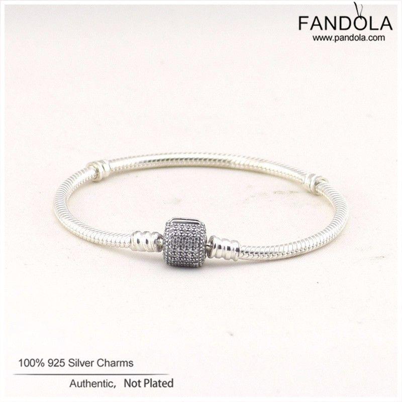 Pandulaso Signature Pave Clasp Bracelets & Bangles 925 Sterling Silver Clear CZ Charm Beads Bracelets for Women Men Jewelry