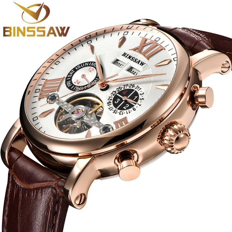 BINSSAW Men Tourbillon Full-automatic Mechanical Watch Luxury Fashion Brand Leather Man Calendar Week Multifunctional Watches