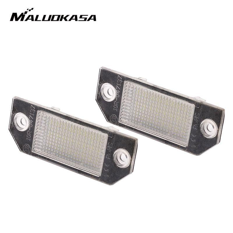 MALUOKASA 2Pcs 12V White 18 LED Number License Plate Light Lamp for Ford Focus C-MAX I 2003 2004 2005 2006 2007 MK2 2003-2008