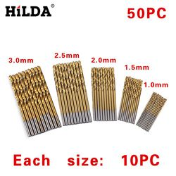 HILDA 50Pcs/Set Twist Drill Bit Set Saw Set HSS High Steel Drill Woodworking Wood Tool 1/1.5/2/2.5/3mm For Metal