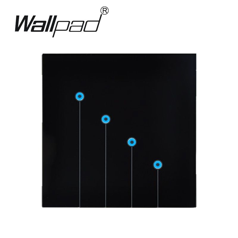 Top-End Tempered Glass Touch Wall switch, 4 Gangs 1 way Touch Wall Light Switch 220V, Free shipping